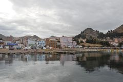 Town of Copacabana  on lake Titicaca. Royalty Free Stock Photography