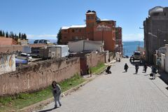 Town of Copacabana  on lake Titicaca Royalty Free Stock Image