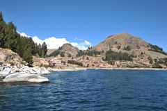 Town of Copacabana on lake Titicaca. Royalty Free Stock Images