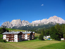 The town of Cortina d'Ampezzo in the Dolomites Royalty Free Stock Photos