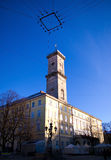 Town council in Lviv, Ukraine. Town council on a blue sky background in Lviv, Ukraine Stock Images