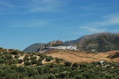 Town and countryside, Zahara de la Sierra, Spain. Stock Images