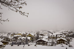 Town covered with snow Royalty Free Stock Images