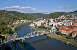 Town Decin, Czech republic. View of the town Decin from viewpoint Pastyrska stena Stock Photo