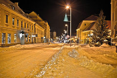 Town in deep snow on Christmas Stock Photos