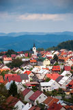 Town Delnice, Croatia. Arial view of town Delnice, Croatia Stock Photos