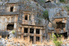 Town of Demre. Tombs carved into the rocks in the town of Demre Royalty Free Stock Photo