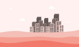 Town on the desert of vector flat Stock Image