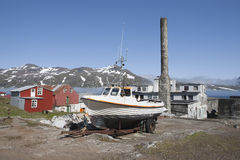 Town Djúpivogur houses and boat. Stock Photos