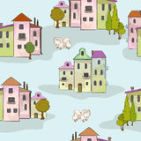 Town and dog Royalty Free Stock Photo