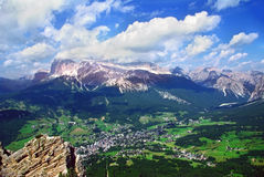 Town among Dolomites Stock Photography