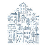 Town doodles in house shape Stock Image