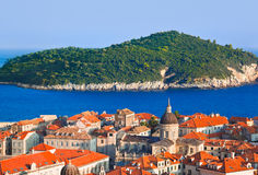 Town Dubrovnik and island in Croatia Royalty Free Stock Photography