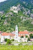 Town of Durnstein. Durnstein with vineyard in Wachau Region, Lower Austria, Austria Stock Photo