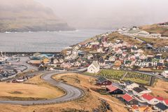 The town of eidi in the faroe islands. This picture shows the town of eidi in the faroe islands Royalty Free Stock Images