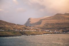 The town of eidi in the faroe islands. This picture shows the town of eidi in the faroe islands Stock Images