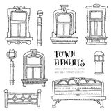 Town elements hand drawn. Stock Images