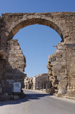 Town entrance gate, Side, Turkey. Ruins of the ancient city, Side, Turkey Royalty Free Stock Photography
