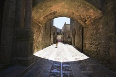 Old middle ages street in Erice, Sicily. Italy. Town of Erice at west of Sicily in south Italy. Marble street to the church royalty free stock image