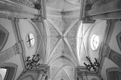 Roman Catholic church interior located in the town of Erice, Sicily in South of Italy stock photography