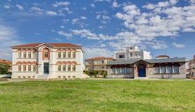 town för almyrosgreece korridor thessaly royaltyfria bilder