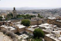 town för fesmedinamorocco gammal överblick Arkivbilder