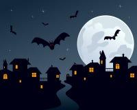 town för halloween nattplats vektor illustrationer