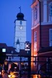 town för klockakorridortorn Arkivbild