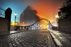 town för natt för bro e gammal Arkivbild