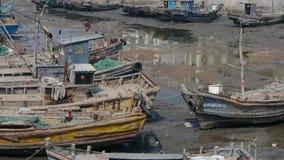 town för port för apuliabari fartyg stock video