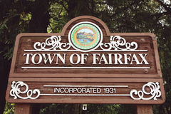 Town of Fairfax. Welcoming wooden desk Royalty Free Stock Photos