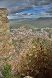 Town of Feria from one ruined battlement of the castle Royalty Free Stock Images