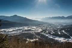 Town of Fernie in the winter. In British Columbia, Canada royalty free stock images