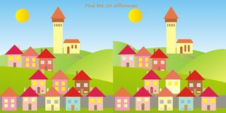 Town, find ten differences. Game for children Royalty Free Stock Images