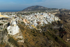 Town of Fira, Santorini, Thira,  Cyclades Islands. Greece Royalty Free Stock Photo