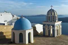 Town of Fira, Santorini, Thira,  Cyclades IslandsChurch in Fira, Santorini, Thira,  Cyclades Islands. Church in Fira, Santorini, Thira,  Cyclades Islands, Greece Royalty Free Stock Photo