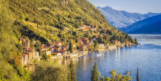 The town of Fiumelatte, on Lake Como;. Glows in the afternoon sun about 1 km south of Varenna, Italy Royalty Free Stock Photos