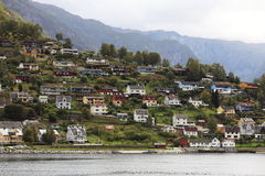 Town by fjord Stock Photography