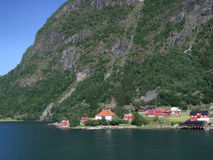 Town by the fjord in Norway. Typical Scandinavian houses near the Sognefjord in Sogndal, Norway, Scandinavia, Europe Royalty Free Stock Image