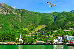 Town at the fjord. Royalty Free Stock Images