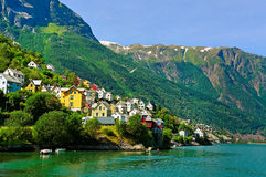 Town at the fjord. Stock Image