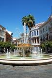 Town fountain, Jerez de la Frontera. Fountain on the roundabout (Rotonda de los Casinos), Jerez de la Frontera, Cadiz Province, Andalusia, Spain, Western Europe Royalty Free Stock Image