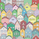Town full of houses seamless pattern. Royalty Free Stock Image