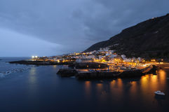 Town Garachico at night. Tenerife, Spain Royalty Free Stock Image