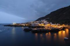 Town Garachico at night. Tenerife, Spain Royalty Free Stock Image