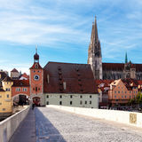 Town gate in Regensburg Stock Photography
