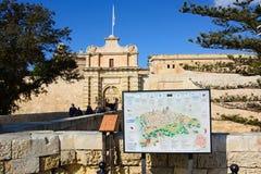 Town gate and town plan, Mdina. Stock Photos