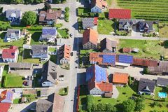 Town in Germany. Aerial photography. There are a lot of solar panels on the roofs Royalty Free Stock Photography