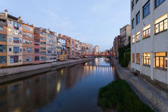 Town of Girona at dusk, Spain Royalty Free Stock Image