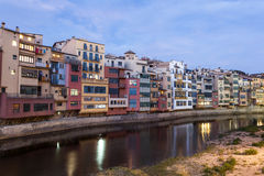 Town of Girona at dusk, Spain Royalty Free Stock Photography